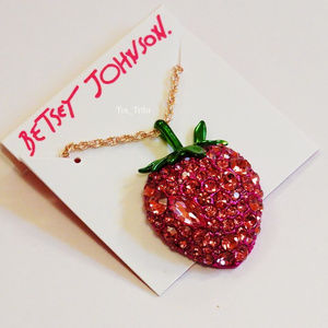 Betsey Johnson Strawberry Pendant Necklace